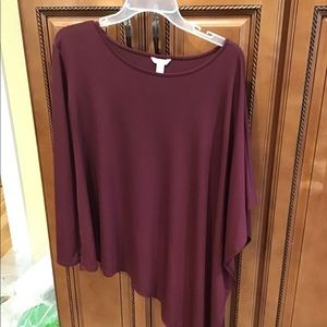 Cato med women dressy burgundy top like new Tunic